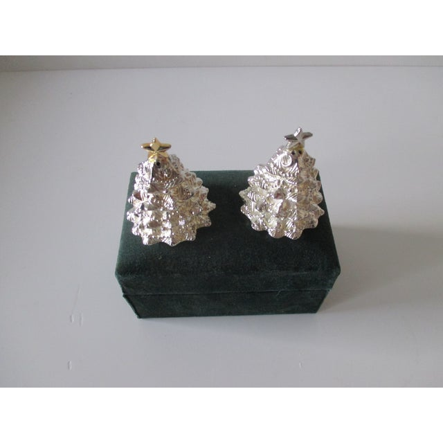 Vintage Christmas Trees Silver Plated Salt and Pepper Shakers Set For Sale - Image 4 of 6