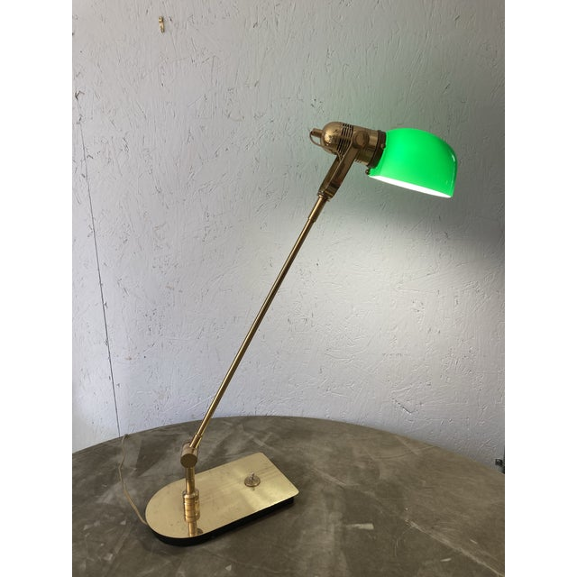 Industrial Mid Century Solid Brass Pharmacy Desk Lamp For Sale - Image 3 of 9