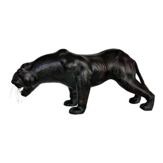 Figurative Large Leather-Clad Sculpture of a Black Panther With Glass Eyes For Sale
