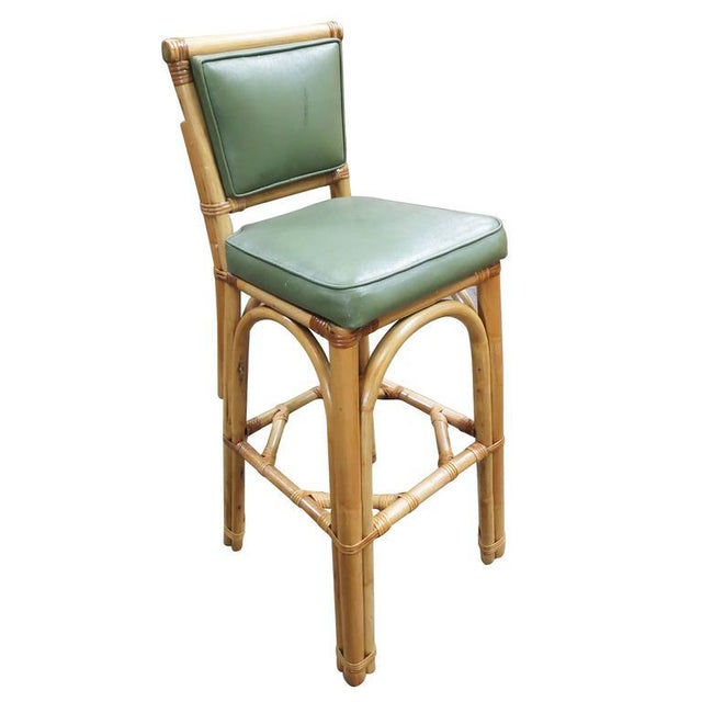 Rattan & Vinyl Bar Stools - Set of 6 - Image 3 of 9