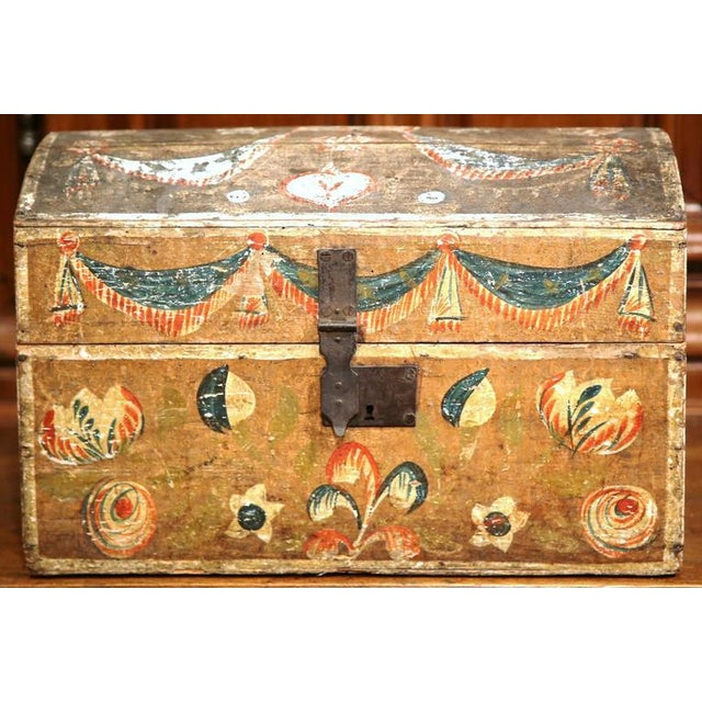 18th Century French Painted Bird Motif Trunk - Image 2 of 8