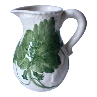 Bordallo Pinheiro Majolica Pitcher-Green Ivy