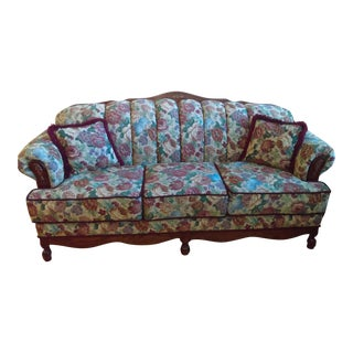 Queen Anne Floral Sofa For Sale