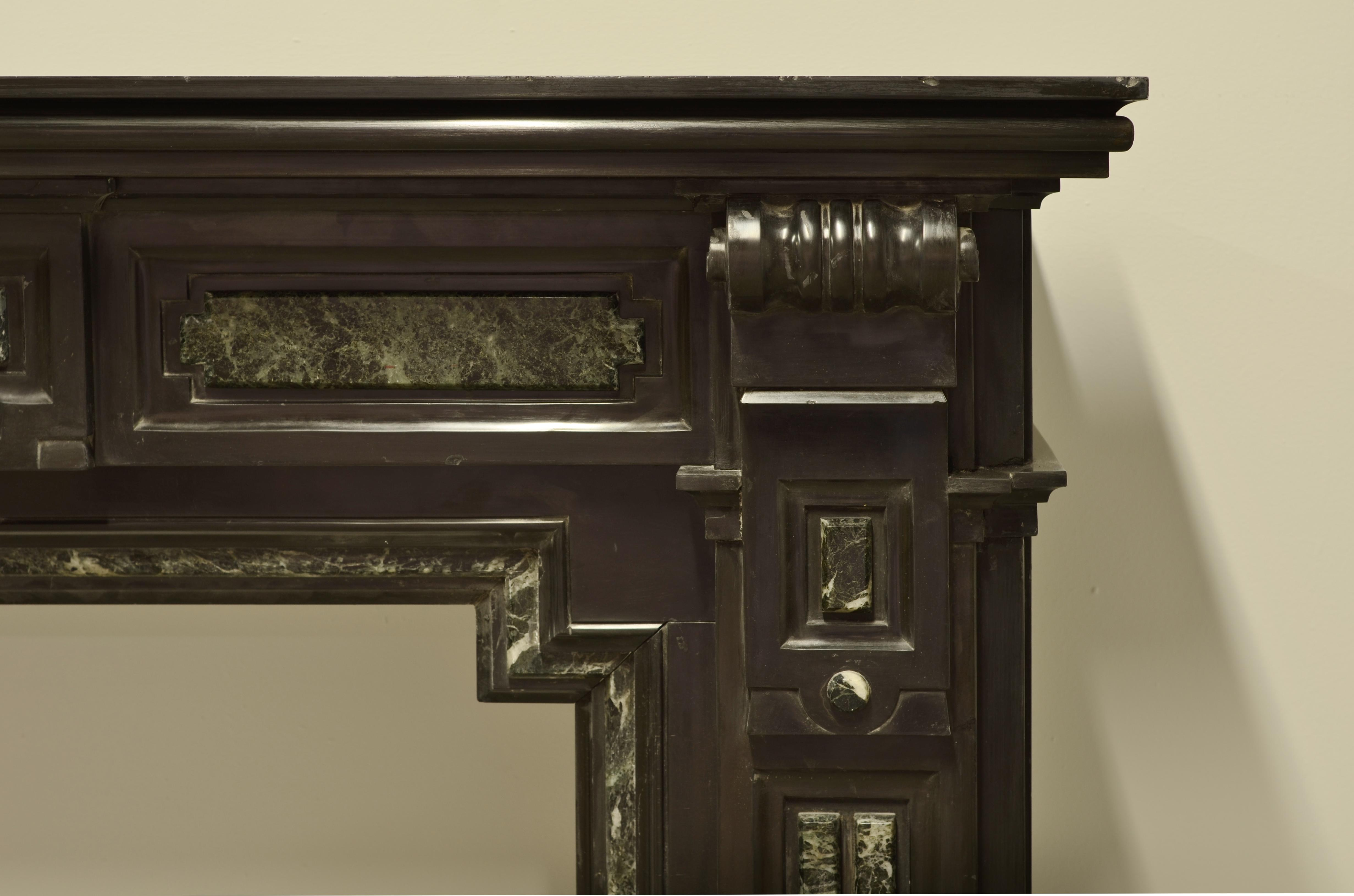 Luxury Monumental Dutch Black Marble Fireplace Mantel With Green