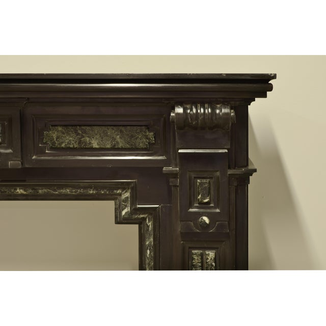 Louis XVI Monumental Dutch Black Marble Fireplace Mantel with Green Details For Sale - Image 3 of 5