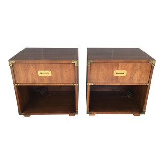 Henredon Campaign Style Single Drawer Nightstands-A Pair For Sale