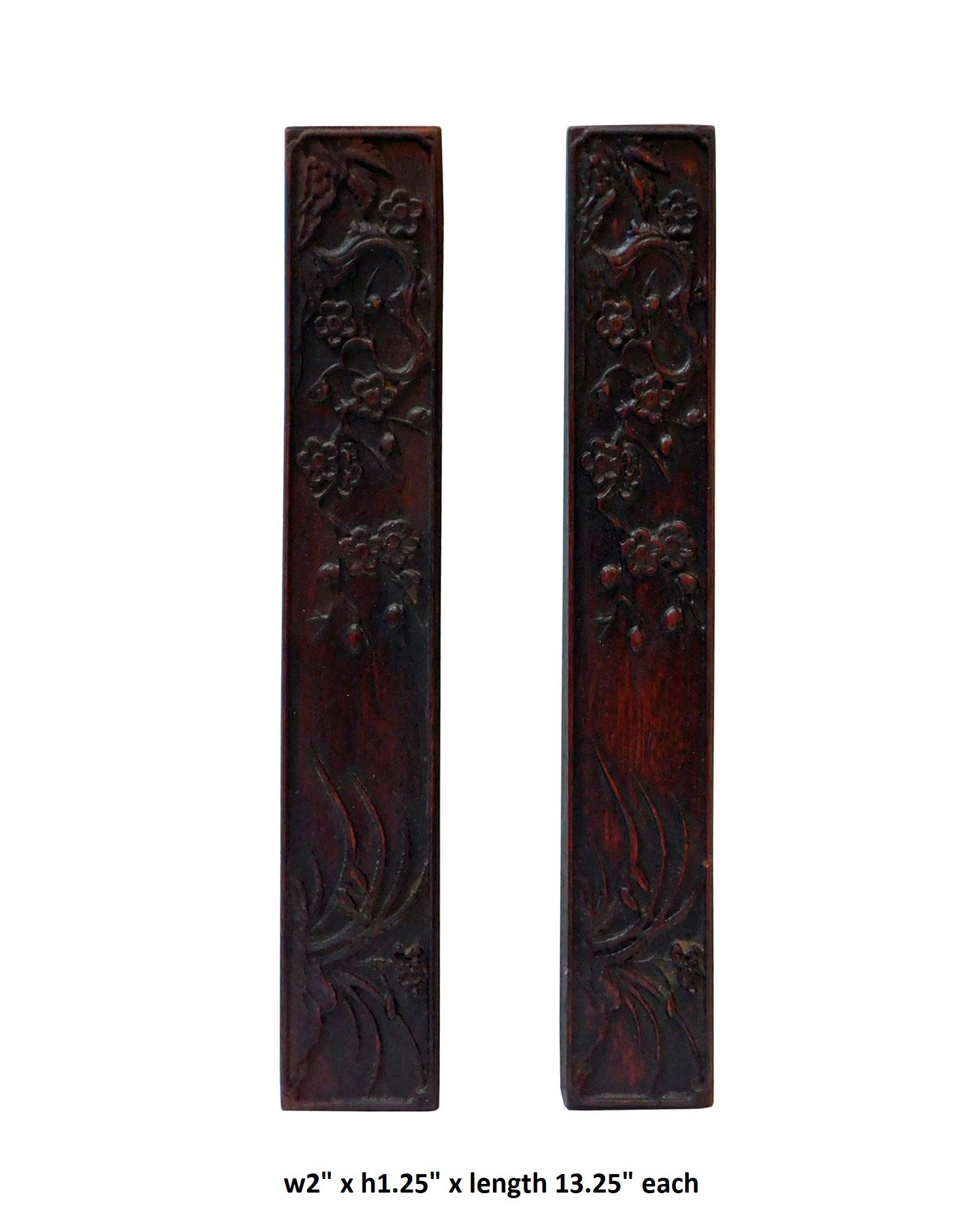 Chinese pair natural wood relief carving rectangular paperweights