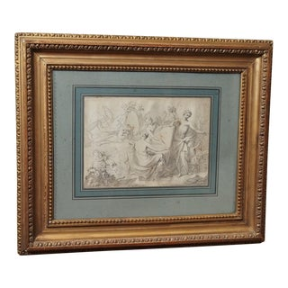 Mid 19th Century Antique Pen & Ink Framed Drawing For Sale