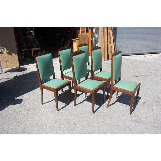 1940s French Art Deco Solid Mahogany by Jules Leleu Dining Chairs - Set of 6 - Image 2 of 12