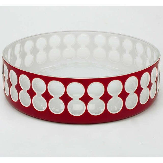 Hungarian hand cut and hand cased crystal bowl with convex center. Double circle incising takes on a three dimensional...