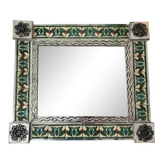 Vintage Mexican Green and Turquoise Tile Mirror For Sale