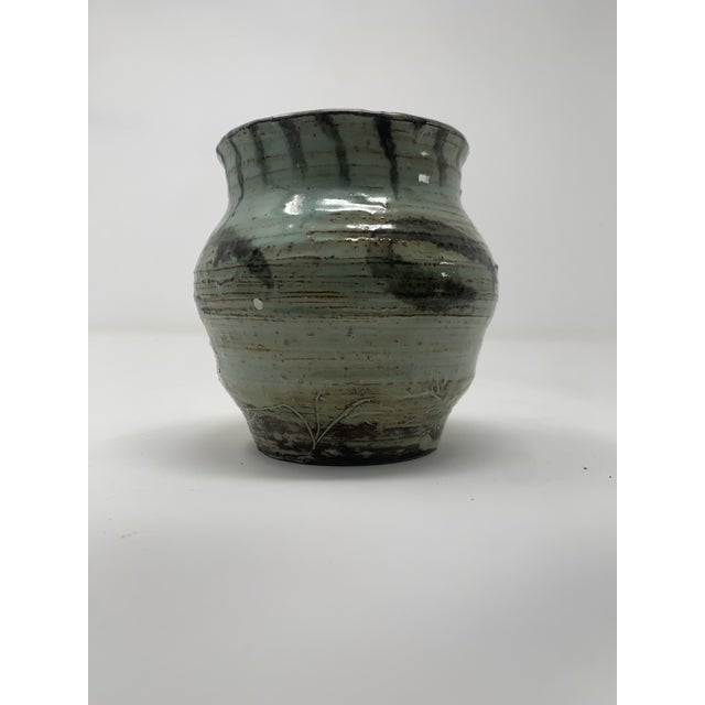 Late 20th Century Short Green Ceramic Vase For Sale In New York - Image 6 of 11