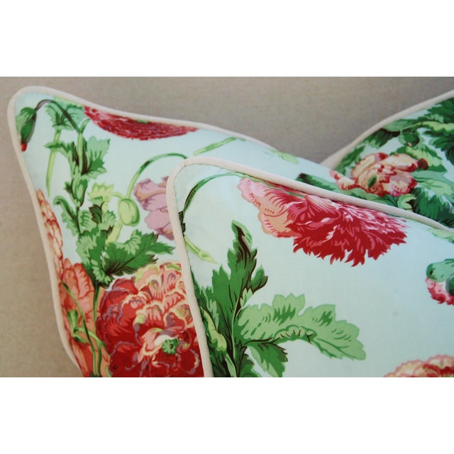 """Feather Designer Brunschwig & Fils Poppies Feather/Down Pillows 22"""" Square - Pair For Sale - Image 7 of 10"""