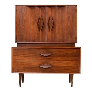 Mid Century Modern Tall Diamond Pull Dresser
