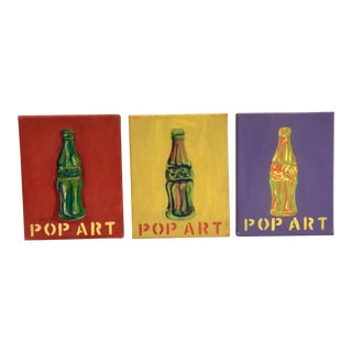 1960's Pop Art Soda Bottle Paintings on Canvas - Set of 3