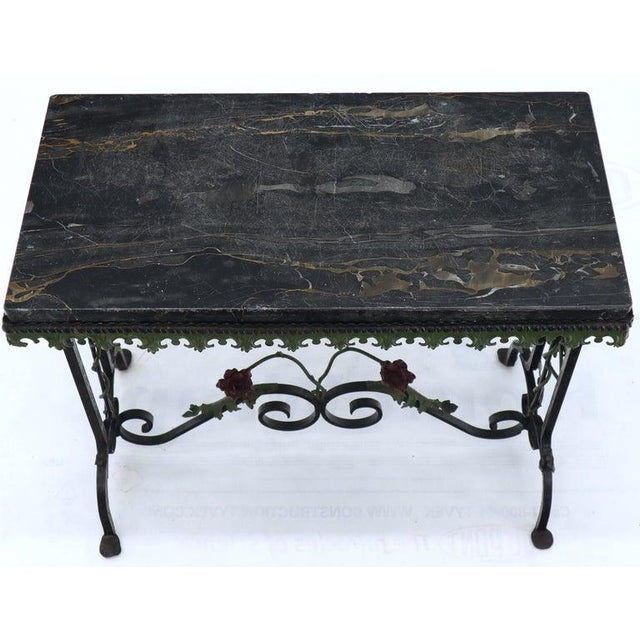 Arts & Crafts Black Marble Top Ornate Wrought Iron Side Console Table For Sale - Image 3 of 13