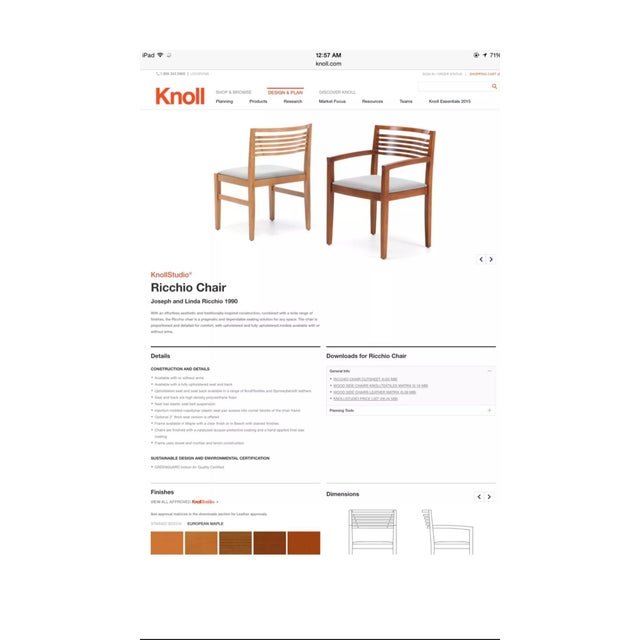 Knoll 1990s Mahogany Knoll Ricchio Chairs - a Pair For Sale - Image 4 of 6