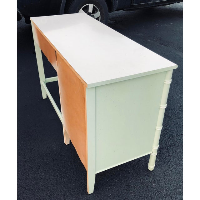Mint Thomasville Faux Bamboo Writing Desk For Sale - Image 8 of 9
