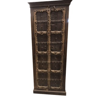 Antique Indian Armoire Storage Brown Hand Carved Wardrobe Cabinet