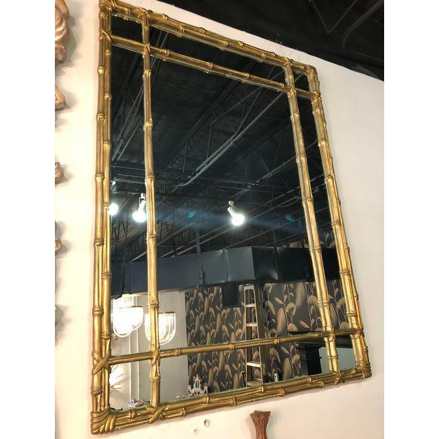 Gold Vintage Faux Bamboo Gold Wall Mirror For Sale - Image 8 of 10