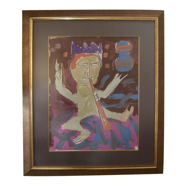 A Framed Acrylic on Paper by James Hansen For Sale