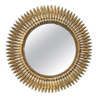 1960s Round Spanish Gilt Metal Sunburst Mirror For Sale