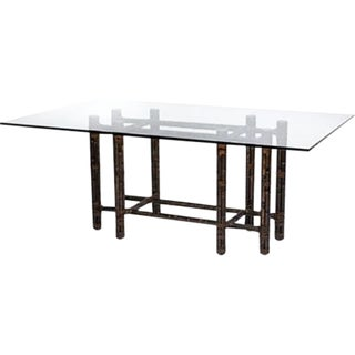 McGuire Rectangular Black Bamboo Dining Table For Sale