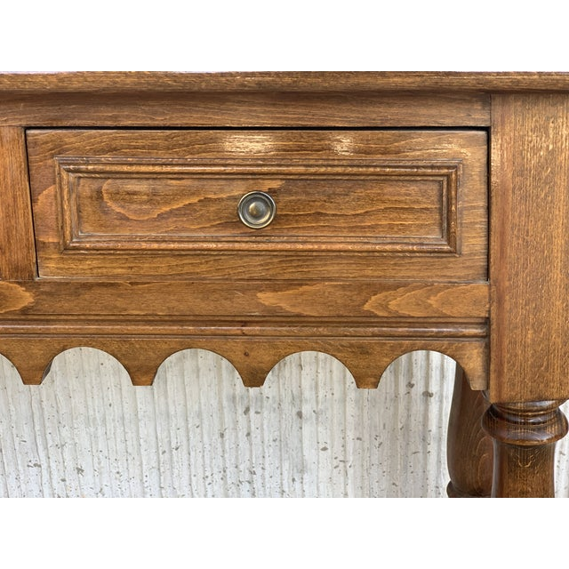 19th Spanish Walnut Console Table With Two Drawers For Sale - Image 9 of 12