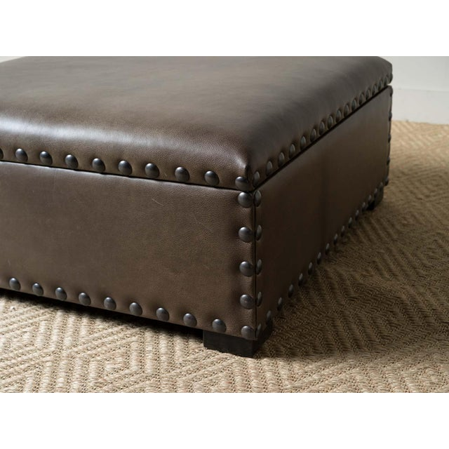 2010s Modern Finneas Leather Ottoman For Sale - Image 5 of 7