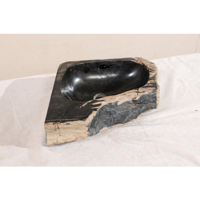 Black and Tan Polished Petrified Wood Sink For Sale In Atlanta - Image 6 of 12