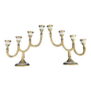 Brass and Mother of Pearl Candelabras - a Pair For Sale