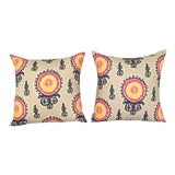 Image of Ikat Suzani Pillow Covers - a Pair For Sale