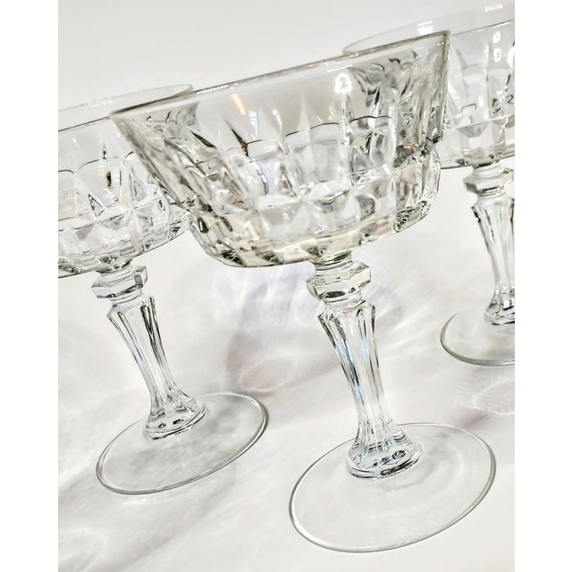 1940s Vintage 40s Cut Crystal Champagne Coupes- Set of 7 For Sale - Image 5 of 7