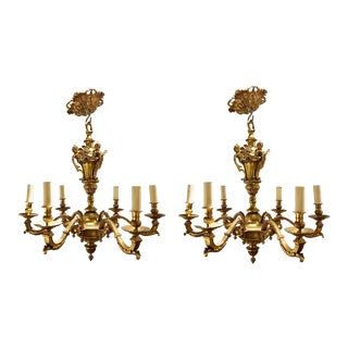 French Regency Style Chandeliers Related to Andre Charles Boulle - a Pair For Sale