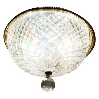 Vintage Waterford Crystal Signed Flush Mount Ceiling Fixture For Sale