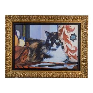 Original Vintage Acrylic/Canvas-Cat Portrait-Signed & Framed For Sale
