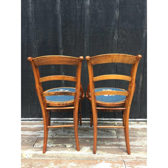Needlepoint Seat Wooden Chairs - Set of 2 For Sale - Image 6 of 11