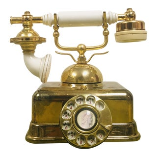 Hollywood Regency Rotary Dial Gold & Cream Phone For Sale