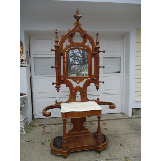 Tall Gothic Style Marble & Wood Coat Hanger Stand - Image 2 of 8