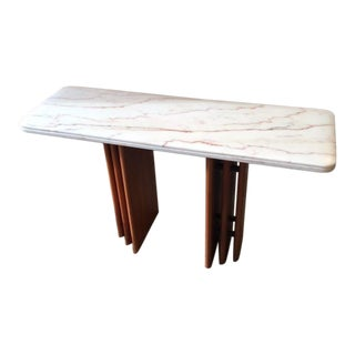 1960s Danish Modern Marble and Wood Console For Sale