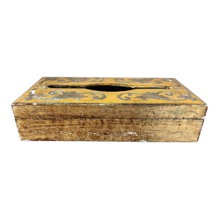 Vintage Orange Gilt Florentine Tissue Holder For Sale