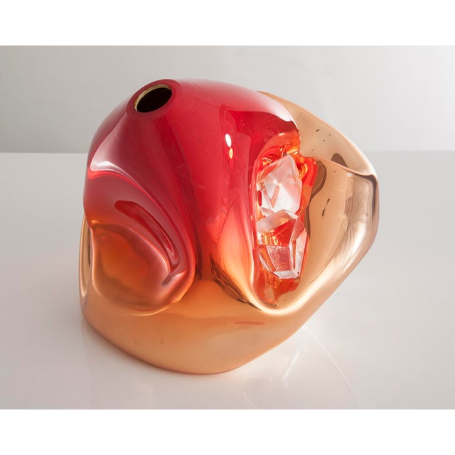 Jeff Zimmerman Unique crumpled sculptural vessel For Sale - Image 4 of 4