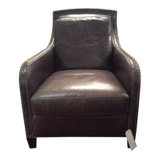 Modern Lee Leather Small Platinum Nailhead Trim Club Chair For Sale