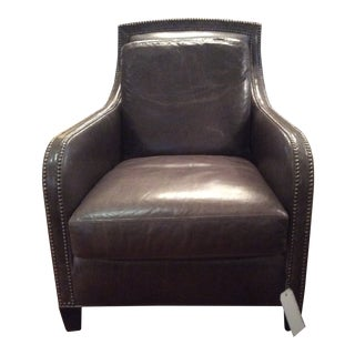 Modern Lee Leather Small Platinum Nailhead Trim Club Chair Item # L1183-01 For Sale