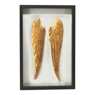 Framed Wood Carved Angel Wings, Framed For Sale