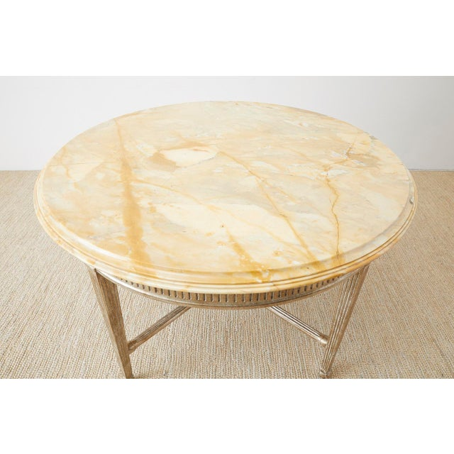 Neoclassical Style Silver Gilt Marble-Top Center Table For Sale - Image 11 of 13