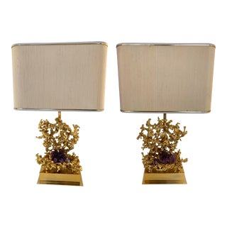 Pair of Bronze Amethyst Lamps by Boeltz. France, 1970s For Sale