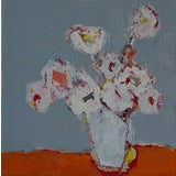 "Image of Bill Tansey ""Summer White"" Abstract Floral Painting Oil on Canvas For Sale"