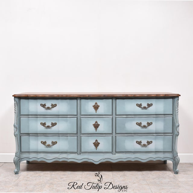 French Provincial Nine Drawer Triple Dresser For Sale - Image 13 of 13