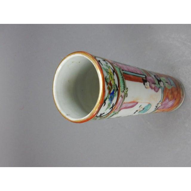 Antique Chinese Export Rose Medallion Cylinder Vase - Image 9 of 11